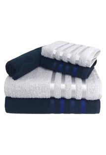 Jogo De Toalha 5 Peças Kit De Toalhas 2 Banho 2 Rosto 1 Piso Azul E Branca