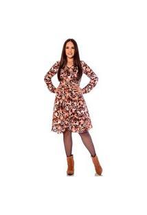 Vestido Com Estampa Exclusiva E Detalhe Em Transpasse Hadaza Marrom