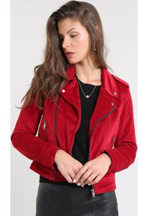 Jaqueta Biker Feminina Em Veludo Vermelha