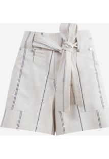 Shorts Dudalina Amarração Listrado Feminino (Off White, 42)