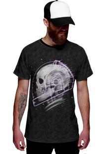 Camiseta Di Nuevo Caveira Astronauta No Espaço Roxa Grafite