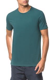 Camiseta Ck Swim Mc Etiqueta Manga - Verde - G