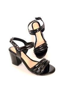Sandália Salto Grosso Lolitta Fashion Tira Preta