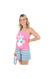 Pijama Baby Doll Ayron Unicórnio Adulto Estampado Curto Mãe