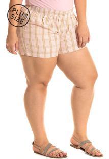 Short Tecido Konciny Plus Size Rosa