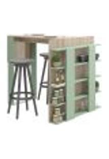 Mesa De Cozinha Com Prateleiras Smart 1003 Aveiro E Verde
