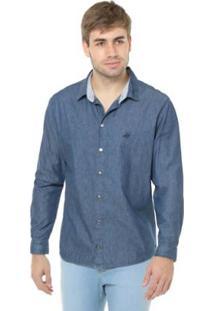 Camisa Denuncia Manga Longa Masculina - Masculino-Azul