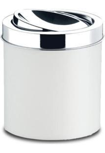 Lixeira Com Tampa Basculante Inox 5,4 Litros Branca