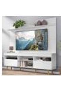 """Rack Com Painel Tv 65"""" Madri Multimóveis Pés Retrô E Prateleira Branco/Natural"""