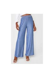 Calça Maria Valentina Pantalona Lurex Azul