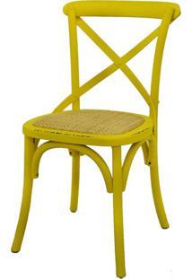 Cadeira Katrina Madeira Assento Rattan Cor Amarela - 19185 - Sun House