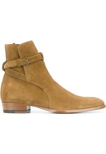 Saint Laurent Ankle Boot Modelo 'Jodhpur' - Nude & Neutrals