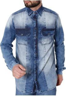 Camisa Jeans Manga Longa Masculina Azul