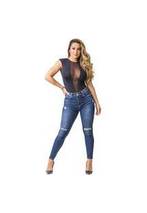 Calça Jeans Zune Feminina Skinny Destroyed Moderna Casual Azul 36 Azul