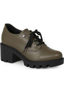 Sapato Oxford Feminino Quiz Tratorado Verde