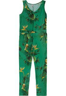 Macacão Verde Floral Em Viscose