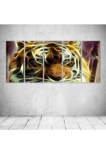 Quadro Decorativo - Tiger Neon Face - Composto De 5 Quadros