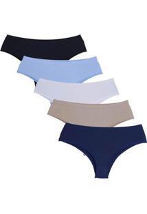 Kit Calcinha Compras De Lingerie Pérola Plus Size Microfibra Elástico Embutido 5 Peças Feminino - Feminino-Branco+Preto