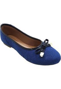 Sapatilha Maisapato Bico Redondo Jeans Azul - Azul - Feminino - Dafiti