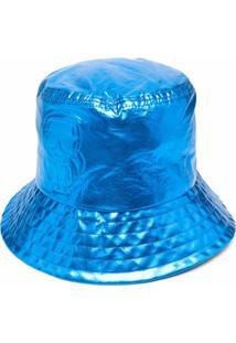 Karl Lagerfeld Chapéu Bucket Metálico - Azul