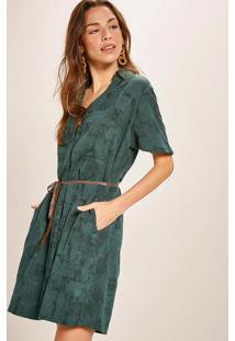 Vestido Chemisier Algodão Linho Curto Verde
