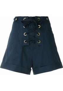 Isolda Short Cintura Alta Com Amarração - Azul