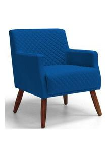 Poltrona Decorativa Para Sala De Estar D02 E Recepçáo Diva Tressê Veludo Azul Cobalto B-170 - Lyam Decor