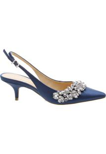 Scarpin Slingback Jewelry Satin Dress Blue | Schutz