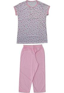 Pijama Pescador Floral Feminino Plus Size Luna Cuore