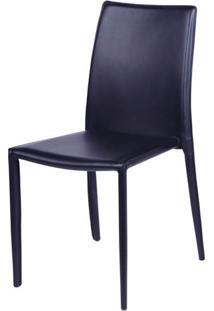 Cadeira Bali Estofada Couro Ecologico Preto - 16374 Sun House
