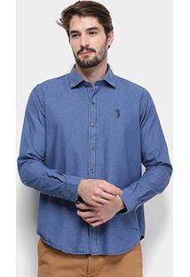 Camisa Jeans Manga Longa Aleatory Slim Fit Mini Print Tropical Masculina - Masculino-Azul+Branco