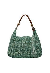 Bolsa Laura Prado Couro Trisse Verde/Ouro