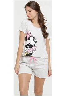 Pijama Feminino Estampa Minnie Metalizado Disney