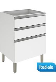 Módulo Cozinha Gabinete Sem Tampo Clarice 3 Gavetas - Igg3-60 - Branco - Aço - Itatiaia