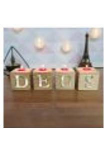 Cubo Decorativo Com Velas E Letras Em Acrílico Deus Único