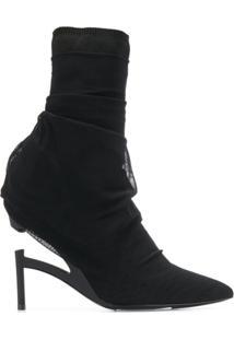 Unravel Project Ankle Boot Com Sobreposição De Tule - Preto
