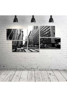 Quadro Decorativo - Black-And-White-New-York - Composto De 5 Quadros - Multicolorido - Dafiti