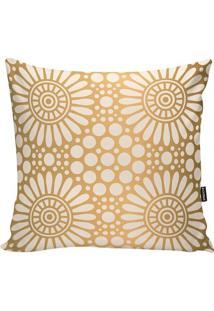 Capa De Almofada Floral- Dourada & Branca- 45X45Cm