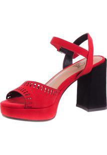 Sandália Butique De Sapatos Meia Pata Suede Vermelha Salto Preto