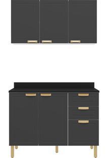 Cozinha Modulada 3 Peças Com Tampo E Nevada 5922Tp-Multimóveis - Branco Premium / Grafite Premium