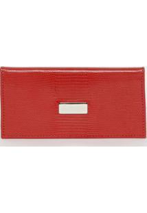 Carteira Em Couro Texturizada- Vermelha- 10X18,5X1,5Griffazzi
