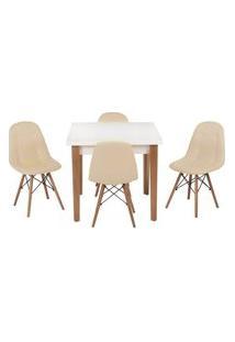 Conjunto Mesa De Jantar Luiza 80Cm Branca Com 4 Cadeiras Botonê - Nude