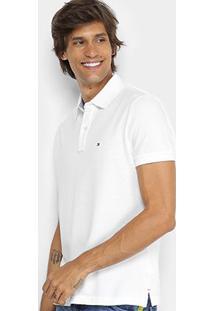 Camisa Polo Tommy Hilfiger Básica Masculina - Masculino-Branco