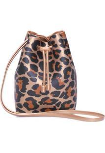 Bolsa Bucket Bag Onça Melissa - Animal Print - Bolsa Saco Onça Melissa - Animal Print