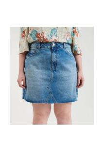 Saia Jeans Com Barra Desfiada Curve & Plus Size | Ashua Curve E Plus Size | Azul | 54