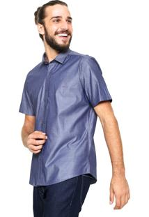 Camisa Aramis Manga Curta Slim Menswear Azul