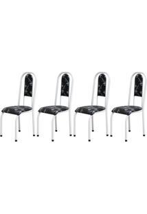 Cadeira Assento Anatomico 4 Peças 00122 Branco Preto Floral Archeli