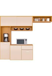 Cozinha Compacta Suspensa C/ Balcão Thais-Poquema - Damasco / Off White