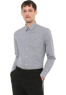 Camisa Calvin Klein Slim Xadrez Preta/Branca