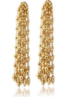 Brinco Le Diamond Brinco Brecheret Brinco Cascata Bolinha Metal Dourado - Tricae